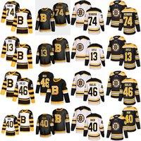 Boston Bruins Hokey Formaları 74 Jake Deprusk 13 Charlie Coyle 46 David Krejci 40 Tuukka Rask Klasik Dikişli Gömlek