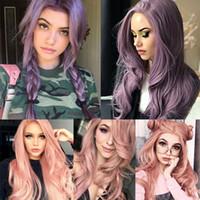 Parrucca di cosplay ondulata lunga PUPRLE PUPRLE Pink Temperatura ad alta densità Parrucca sintetica per donne nere / bianche Glueless Wavy Cosplay Parrucca per capelli