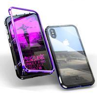 Metal Case Telefono bicchiere pieno corpo adsorbimento magnetico per IPhone 7plus 8plus Iphone 11 / 11Pro / max / XR lega di alluminio FrameTempered vetro