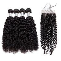 Los paquetes de cabello humano rizado de Viya Kinky con cierre de encaje suizo 4 + 1 y 2 + 1 Color de Remy de Malasia Se puede permitir el color natural sin procesar