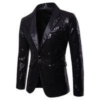 V Neck Sequins Single Button Mens Party Blazer Fashion Panel...