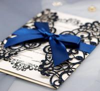 Papel de tarjeta de invitaciones de boda de corte láser de oro de lujo con sobres de cinta Personalizar decoración de boda de fiesta de Halloween HH9-2121
