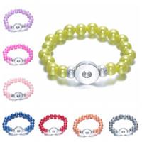Bracelets De Perles Pour Les Femmes Bouton Bracelet En Gros Bijoux Pas Cher Stretch Charmes Bracelet Gingembre Snap Bijoux