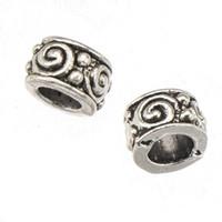 suelta perlas de metal para las pulseras europeas DIY esterlina plata de la vendimia de cono de gran orificio nuevos componentes de joyería de moda 9 * 5m m 300pcs / lot