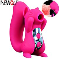Squirrel vibrazione di 10 frequenze Tongue Vibratore Nipple Sucker clitoride leccata stimolatore Succhiare Donne Masturbatore Sex Toy S39 T200511