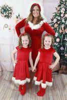 Мать дочь платье Семья Рождество Мамочка And Me Matching костюмов Красного Новый год Рождественская мама Baby Girl Dress Family Look Одежда +2018