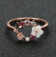 Moda creativa dei fiori di farfalla anelli di cristallo barretta di cerimonia nuziale per le donne in oro rosa zircone Glamour Anello ragazza gioielli regalo Bijoux