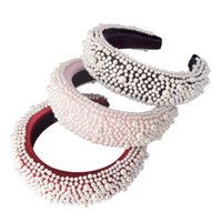 Богемская губка Hairband с полным жемчугом ручной работы Hair Band мягкий оголовье аксессуары для волос Для женщин девочек