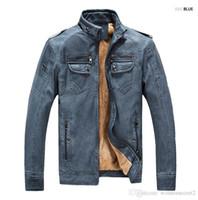 giacca di pelle da uomo PU autunno giacca di pelle e l'inverno più velluto lavato invernali in pelle vintage in pelliccia sintetica Maschio Soprabiti