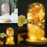 Cristal de la bóveda de Bell Jar Display decorativo de madera y simulados estrellada Flores base ligera Hada LED