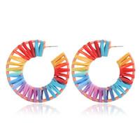 Handmade Радуга Красочные плетеная серьги Большой овальный Геометрия Стро Knit серьги для леди женщин 2020 Новые Этнический Лаки Jewelry