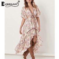 Everkaki Gypsy Stampa Backless Dress Donna Boho Ruffles Deep V Neck Short Front Lungo Back Bohemian Dress Donna 2019 Summer New