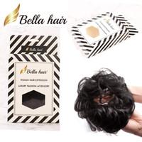 Bellahair 100% Человеческие волосы Screunchie BUN Волшебники Волнообразные Кудрявые Парикмахерские Усилители Волос Донут Хиньонс (# 1b # 4 # 8 # 27 # 30 # 60 # 8 # 27 # 30 # 60 # Серебряный серый)