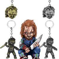 Childs Play-Schlüsselanhänger Klassische Horror-Film Schlüsselanhänger 3D Chucky Cosplay Metall Anhänger Schlüsselanhänger Charm Schmuck Weihnachtsgeschenk für Männer