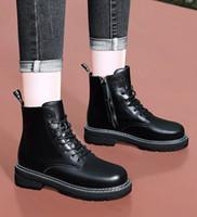 2020 Deri Platformu Martin Çizme Peluş Dantel-up Siyah Kadın Ayakkabı beyaz su geçirmez Moda Artış lüks tasarımcı Kadınlar Boots 36-40