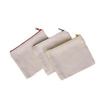 lienzo en blanco con cremallera lápiz casos pluma bolsas del algodón bolsas de cosméticos de maquillaje Bolsas de embrague móvil del teléfono del organizador dc792