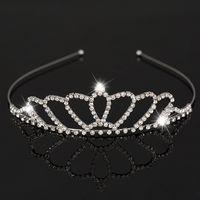 Pageant Silver Plated Crown Headband Cheap Wedding Diademi Accessori Vendita calda Nuovo Design Bella cristallo lucido Tiara nuziale Party