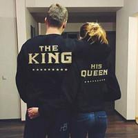 El rey y su reina Amor a juego Hombres Mujeres Hoodies de las camisetas de los pares Tops