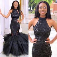 Скромная Черный Длинных платьев выпускного вечера 2020 Африканского пришивание аппликации Многоуровневой Сборка Mermaid поезд суд Backless Формальной вечер партия платье BC3514