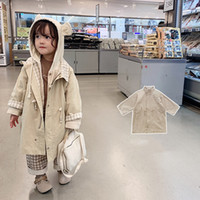 autumn new baby girls grid lining Trench children temperament lapel long coat kids clothing