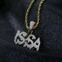 Issa Out Issa Wisiorek Naszyjniki Mężczyźni Luksusowy Projektant Męskie Bling Diamond List Wisiorki Hip Hop Złote Listy Naszyjnik Łańcuch Biżuteria Miłość Prezent