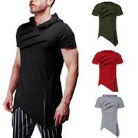 Nuovi uomini di modo misura sottile manica corta con cappuccio con cappuccio T-shirt solido casuale parti superiori di estate casuale camicia strappata fitness Tee