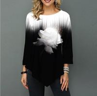Camisa Mujeres Primavera Impresión de otoño O-cuello Blusa 3/4 Manga Casual dobladillo Irregularidad Camisa de moda femenina Tops Tallas grandes