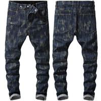 Erkekler Biker Sıkıntılı Denim Pantolon Slim Fit Stretch Jeans Jogger İçin Erkek Tam Boy Erkek Jeans
