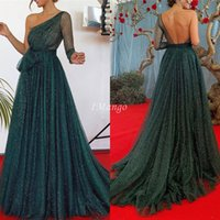 Dark Green Shiny Evening Dresses 2020 One Shoulder Long Slee...