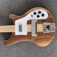 Freie Verschiffenfabrik benutzerdefinierte 4 Saiten natürliche Farbe elektrische Bassgitarre mit Ahorn-Griffbrett, Neck-Thru-Körper, hohe Qualität, kann anpassen