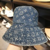 New Denim Fabric Bucket Hat Beliebte Logo D und L Brief voller Blumen Frauen Hut New 2019 Round Fisherman's Hat