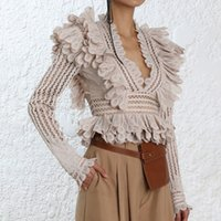 [MENKAY] 2018 Autumn ZIM Hollow Out V Neck Ruffles Spliced T...