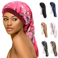 Cabelo Comprido Sock Cap sono Hat Enrole Noite Cap Hair Care Bonnet Nightcap Mulheres Wide Band Elastic Satin Hat Headcover Baggy Protect