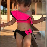 Sfit الصيف الطفل بنات بيكيني مجموعة قطعتين المايوه الأسرة مطابقة الأم ملابس الشاطئ كشكش القوس زي المايوه جديد