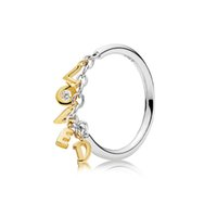 100% 925 Sterling Silver Shine Love Script Anillo Fit Pandora Joyería Engagement Wedding Lovers Anillo de moda