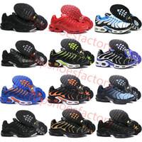 Nike TN air max TN airmax TN plus Top qualité Tn Chaussures de course MEN PANIER REQUIN pas cher filet respirant Chaussures Homme noir Zapatillae Chaussures Tn 36-46