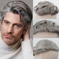 Métis Brown Gris Cheveux Toupets # 5 80% de gris Remy système de remplacement des cheveux bouclés peau Toupet hommes