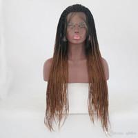 Ombre trançado dianteira perucas para mulheres negras castanho raiz escura longa afro torção trança perucas cheias ombre marrom sintético peruca