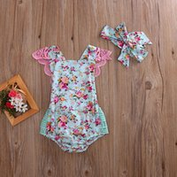 2019 New Summer Baby Girls Romper Kids Floral Lace Plaid One...