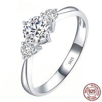Abbagliante Sparkling fidanzamento anelli di barretta per le donne d'argento solido 925 Fine Jewelry Wedding Dichiarazione femminile Bijoux XR381