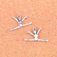 100 piezas Hadas gimnasia gimnasta sporter plateado plata antigua fabricación de los colgantes de plata tibetana DIY hecho a mano joyería 22 * 16mm