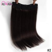 금발 블랙 브라운 실크 스트레이트 클립 인간의 머리카락 확장 100g 브라질 인도 레미 머리 전체 머리