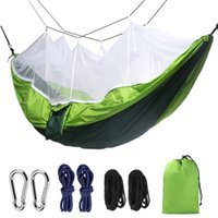 260 * 140cm Mosquito Net Hammock Outdoor Parachute Tissu Hamac de camping Camping Tente Jardin Jardin Swing Swing Habing Lit avec corde Crochet VT1736
