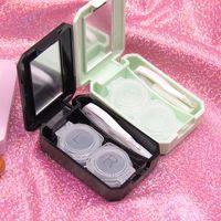 Sıcak Güzel Seyahat Seti Kutu Renkli Kontakt Lens Kutusu ile Ayna Kadınlar Renkli Kontakt Lensler Kutu Gözler Kontakt Lens Konteyner Y2502