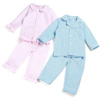 100% algodão primavera e verão vossucker crianças pijamas manga longa listra boutique casa sleepwear 12m-12years y200328