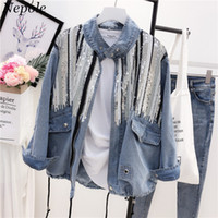 Neploe Sequines Nappa Coulisse Donne Giacca in denim 2019 Primavera Autunno Cool GIrl Moda Outwear Zipper Placket Cool Coat 69839
