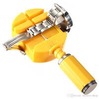 Herramientas Herramienta de reparación de 28 mm Amarillo acoplamiento del reloj de la cadena de tira cortada Pulsera Correa removedor del Pin Kit de herramientas de reparación del ajustador + 3pcs Piezas de pernos