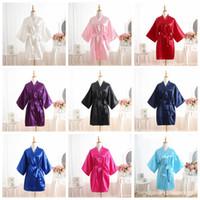 raso notte accappatoio per le donne puro colore raso breve seta accappatoio pigiama da notte camicia da notte pigiama kimono abiti da damigella d'onore abbigliamento casa