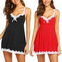 Donne da notte Sleepwear Nightdowns Sleepshirts V-Neck Lace Homewear Set Donne Summer Sexy Lingerie Bow Nightdress Robe Femme D30