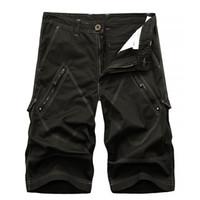 los hombres de cortocircuitos del cargo bermudas homme de algodón pantalones cortos de moda masculina lavar los pantalones cortos con cremalleras envío de la gota ABZ144